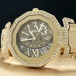 Designer Men's Gold Tone Iced Bling Elite Watch